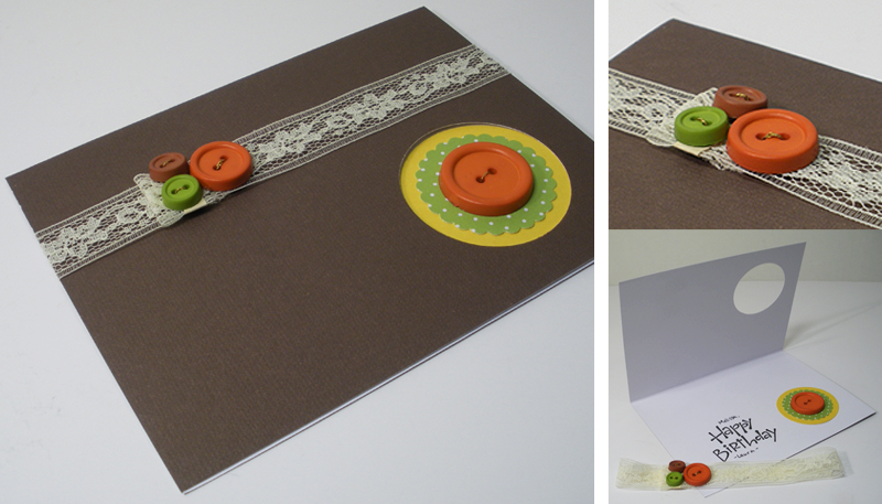 handmade brown craft birthday card with buttons lace and punches