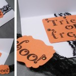 orange white punch lace bronze brad handmade Halloween card
