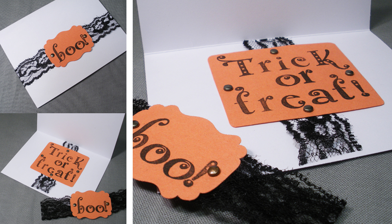 orange white punch lace bronze brad handmade Halloween card