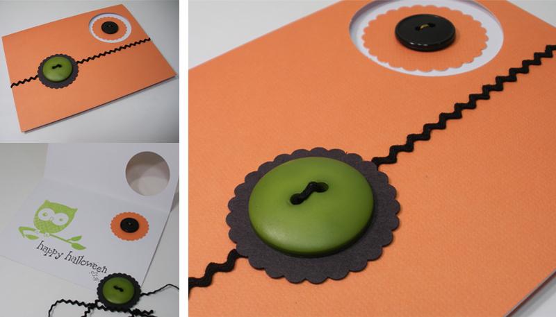 orange black punch rikrak button handmade Halloween card