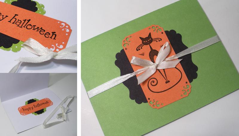 Orange green black punch ribbon handmade Halloween card