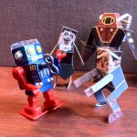 Bioshock Big Daddy and Splicer papercraft with Robot pencil sharpener