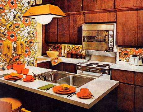 1960's orange floral kitchen