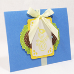 handmade blue craft birthday card with buttons lace and punches