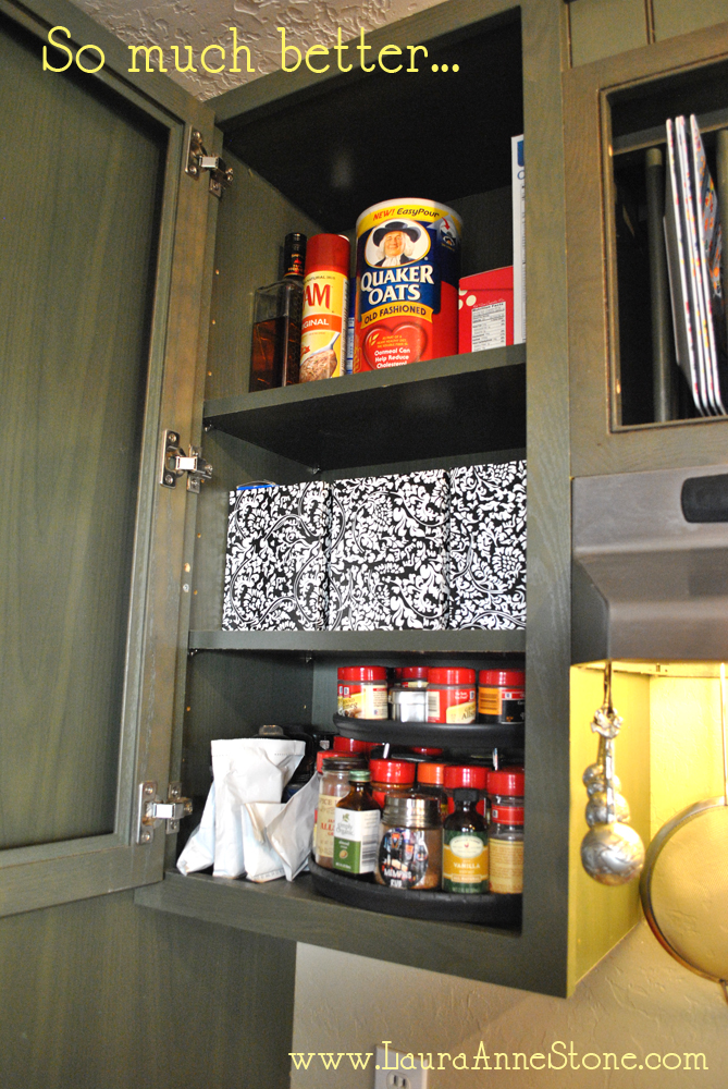 After - boxes in the cabinet