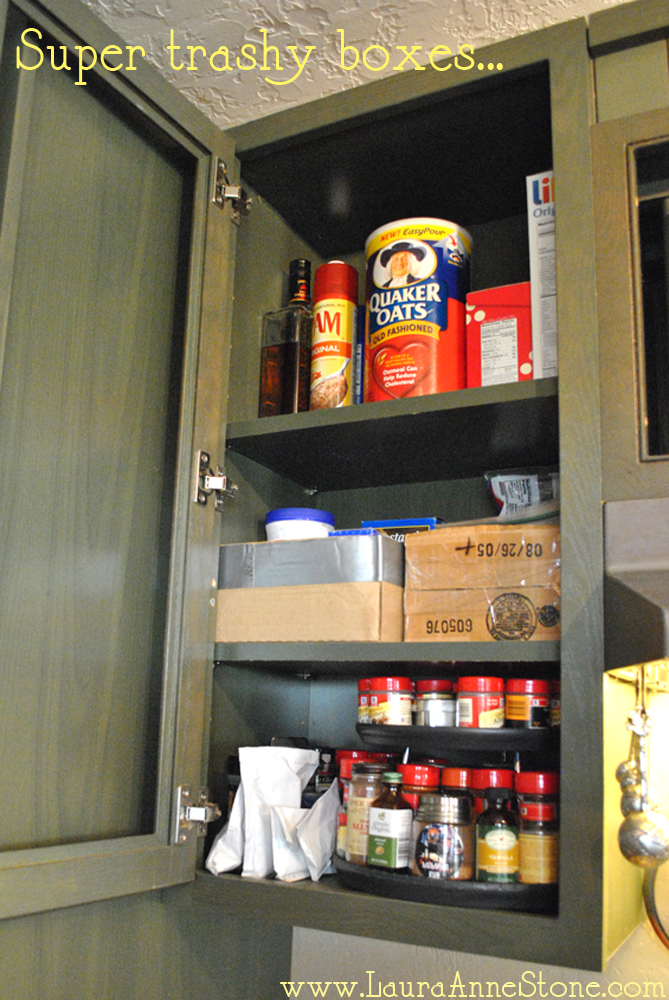 Boxes in the cabinet - before
