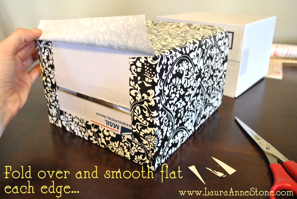 pretty covered boxes - fold over edges