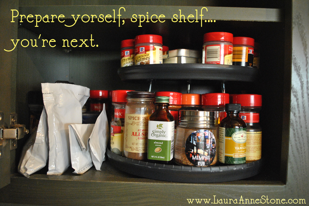 unorganized spice shelf