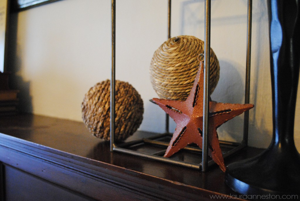 2013 Fall Mantle - detail iron star lantern jute balls - LauraAnneStone.com