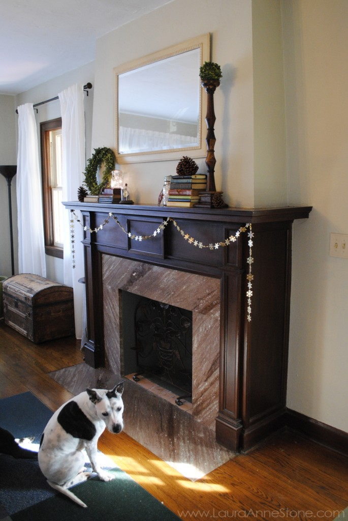 2013 Winter Holiday Mantle and antique vintage trunk - LauraAnneStone.com