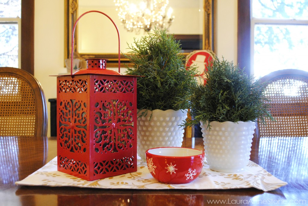 2013 Holiday Dining Room - juniper topiary in milk glass red lantern centerpiece - LauraAnneStone.com