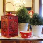 2013 Holiday Dining Room - juniper topiary red lantern centerpiece - LauraAnneStone.com