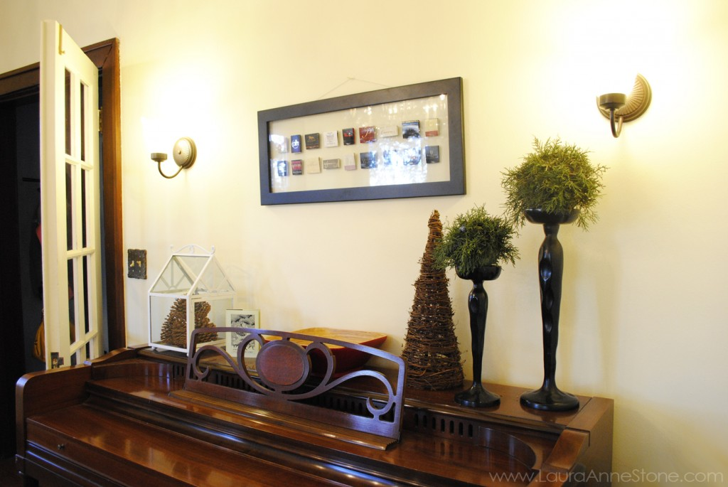2013 Holiday Dining Room - piano juniper topiary balls- LauraAnneStone.com