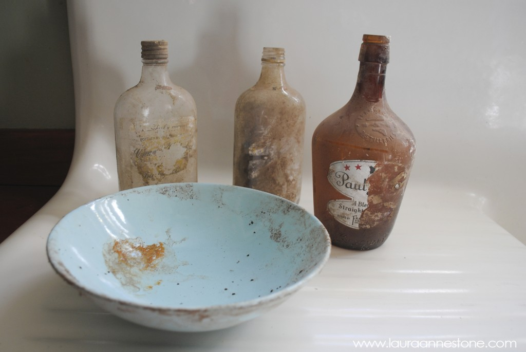Vintage liquor bottles - LauraAnneStone.com
