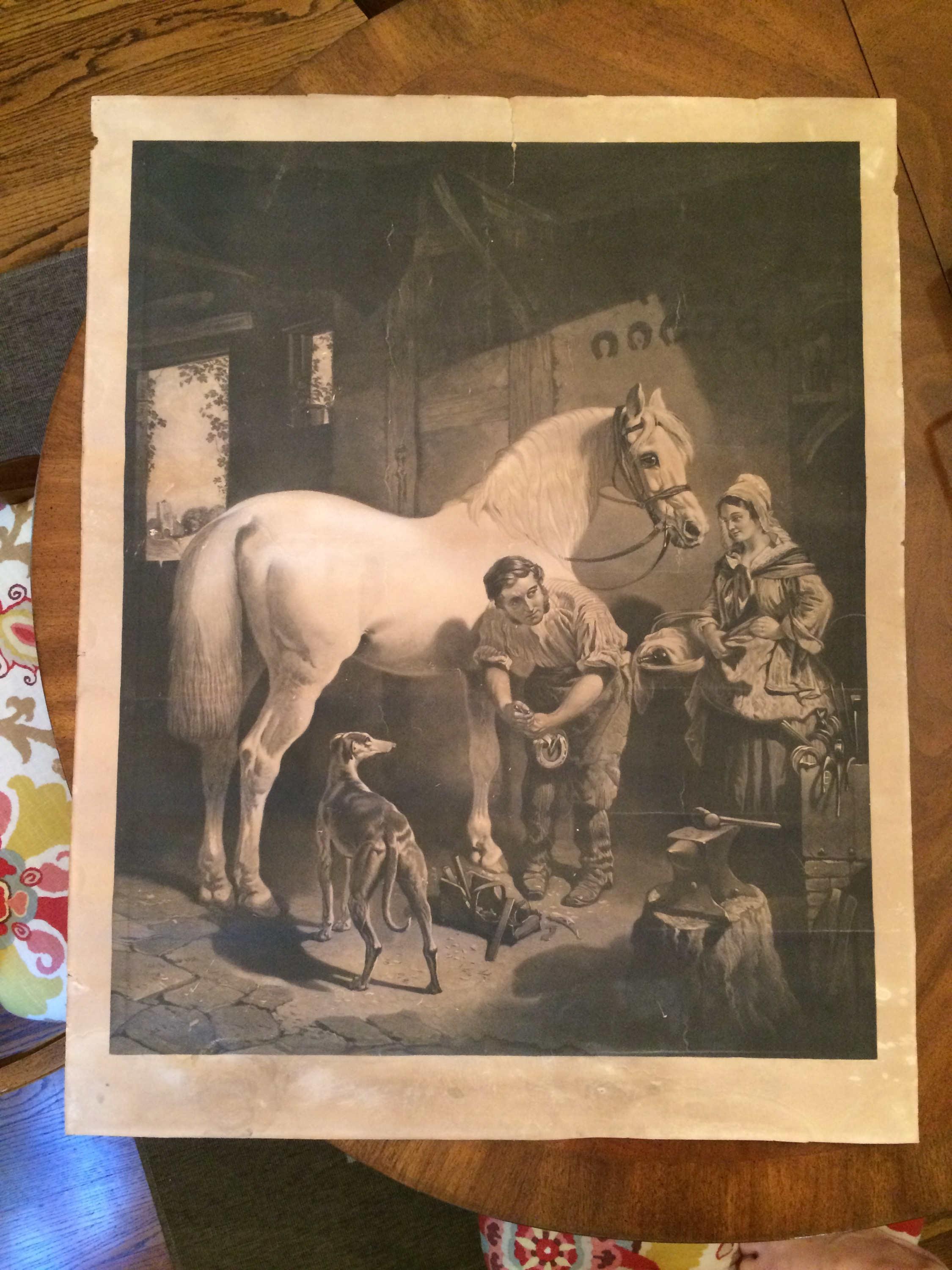 The Village Blacksmith by J. F. Herring - engraving created by George Patterson 1858